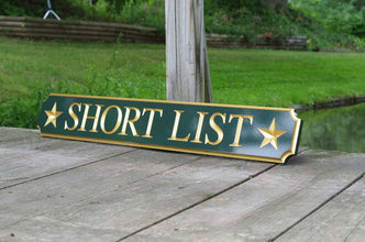 Custom Carved Quarterboard sign with star image - Add your name (Q26) - The Carving Company