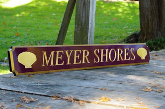 Personalized Quarterboard sign with Shell or other image  (Q32) - The Carving Company