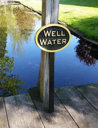 Carved Well Water notice Plaque- Irrigation Sign (LN44) - The Carving Company