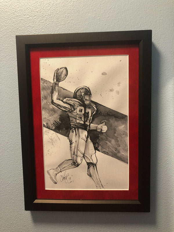 CS003: Travis Kelce Ink + Brush 1 of 1 Framed