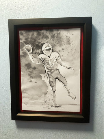 CS005: Patrick Mahomes Ink + Brush 1 of 1 Framed