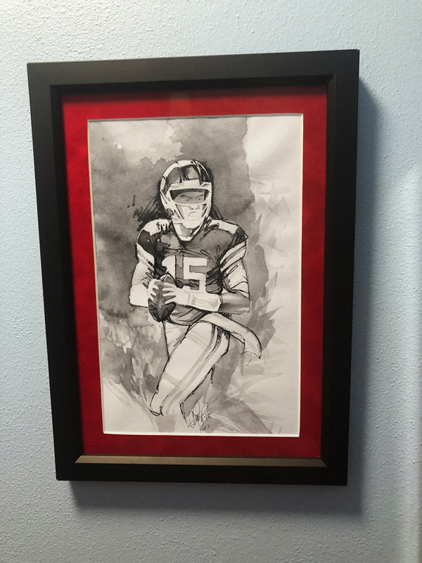CS007: Patrick Mahomes Ink + Brush 1 of 1 Framed