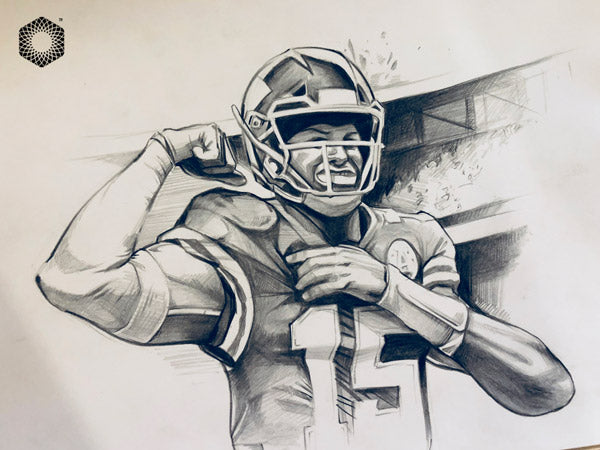 Cs008 Patrick Mahomes Pencil 1 Of 1 Framed After Purchase