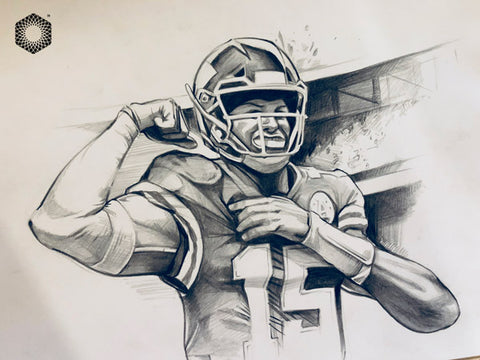 CS008: Patrick Mahomes Pencil 1 of 1 (Framed After Purchase)