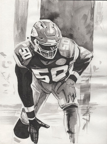 CS009: Justin Houston Ink + Brush 1 of 1 (Framed After Purchase)