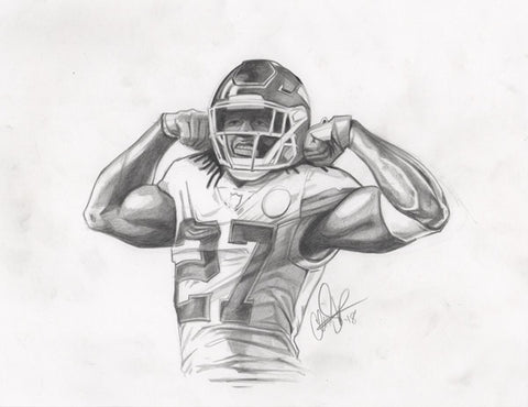Copy of CS011: Kareem Hunt Pencil 1 of 1 (Framed After Purchase)