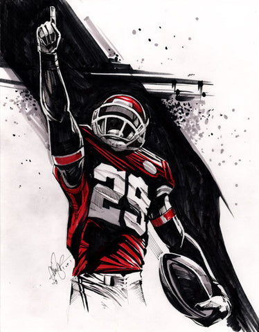 CS012: Eric Berry Pen + Marker Illustration (Framed After Purchase)