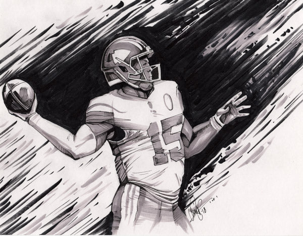 CS017: Patrick Mahomes Pen + Marker Illustration (Framed After Purchase)
