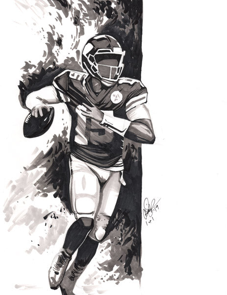 Cs019 Patrick Mahomes Pen Ink Illustration Framed After Purchase