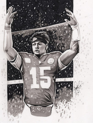 CS021: Patrick Mahomes Pen + Ink Illustration (Framed After Purchase)