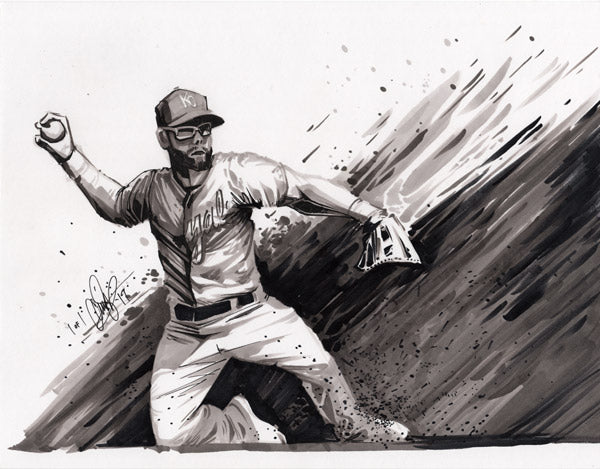 CS023: Alex Gordon Pen + Ink Illustration (Framed After Purchase)