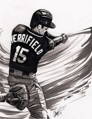 CS025: Whit Merrifield Pen + Ink Illustration (Framed After Purchase)