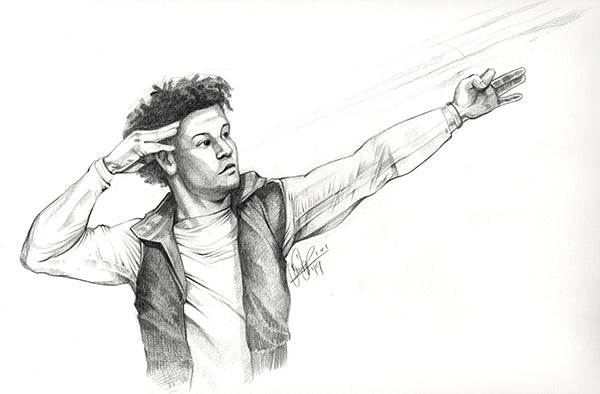 Cs027 Patrick Mahomes Pencil Illustration