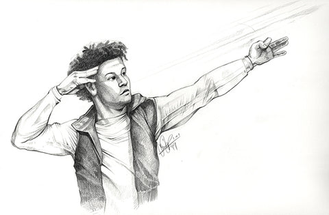 CS027: Patrick Mahomes Pencil Illustration