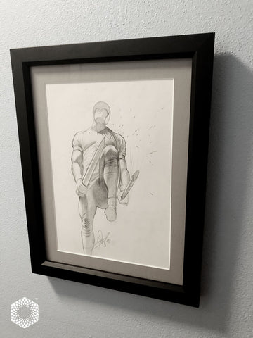 1 of 1 Framed: 20 Minute Pencil Sketch - Bo Jackson / Broken Bats