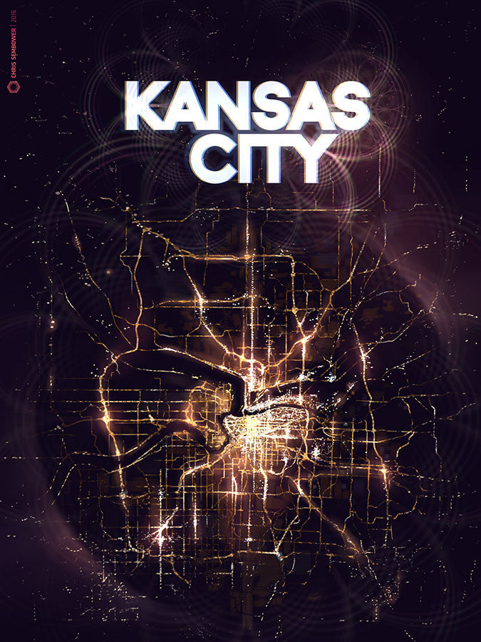 "Kansas City From Space: Posterized 13x19"" Paper Print"
