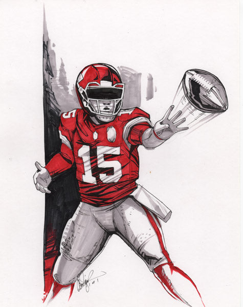 CS011: Patrick Mahomes Pen + Marker Illustration (Framed After Purchase)