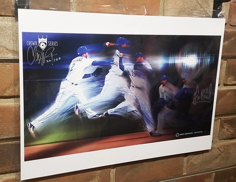 "Throwing Lasers - Signed by Alcides Escobar: 13x19"" Paper Print"