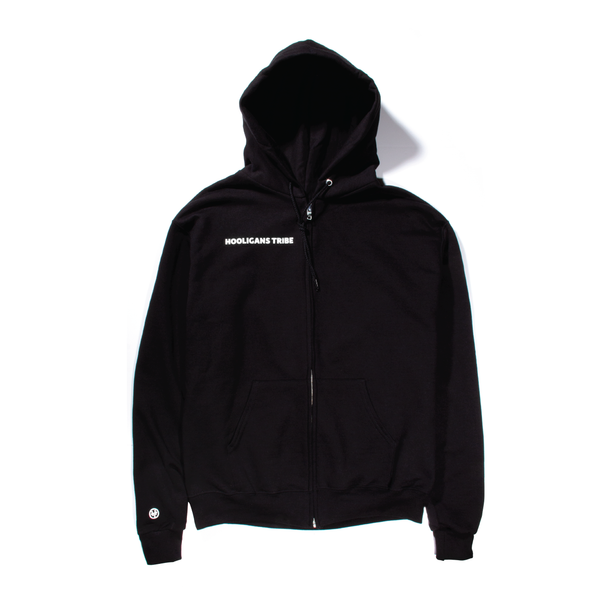 Black Logo Zip-Up Hoody