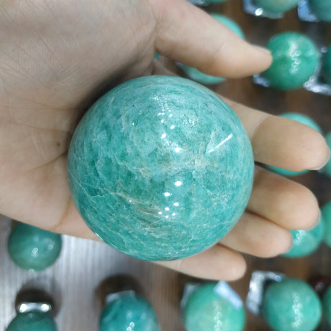 Natural crystal ball amazonite sphere