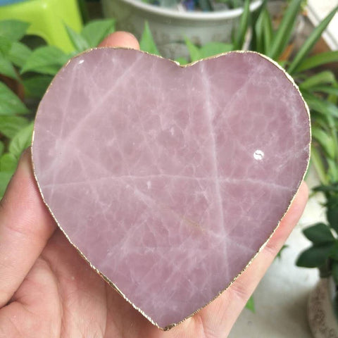 Natural rose quartz crystal heart shaped coasters as furniture decoration 90MM