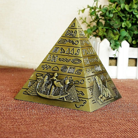 Egyptian Metal Pharaoh Khufu Pyramid Statue