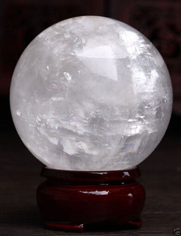 860-100mm + Stand Natural White Calcite Crystal Sphere