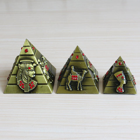 3Pcs/lot Egyptian Pyramids Metal Statue