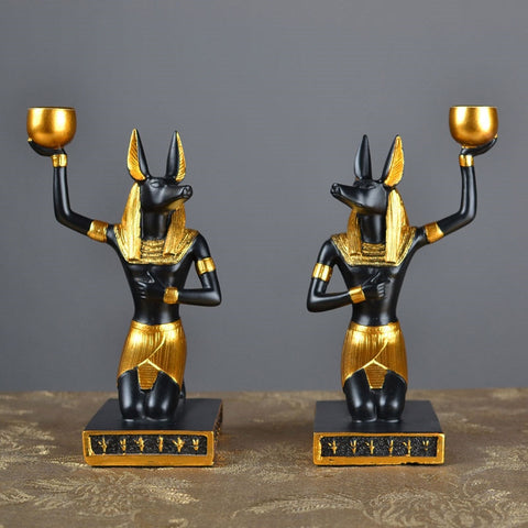 Egyptian Statue Desktop Candlestick Holders