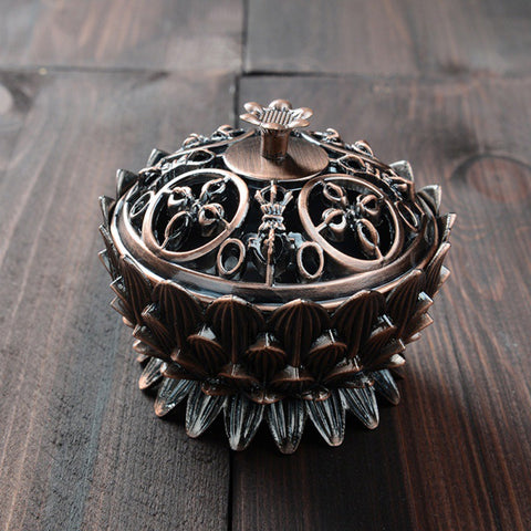 Alloy Buddhist  Lotus Shaped Censer Incense Holder