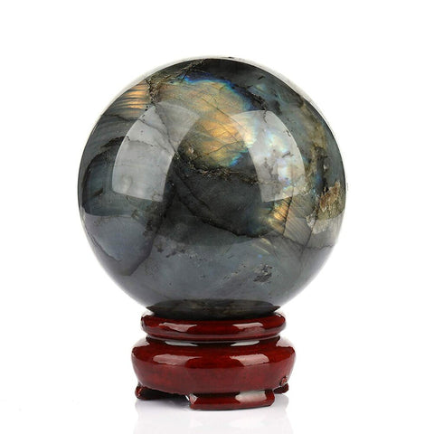 Natural Labradorite Crystal Ball Flash Moonstone Sphere + Wood Stand