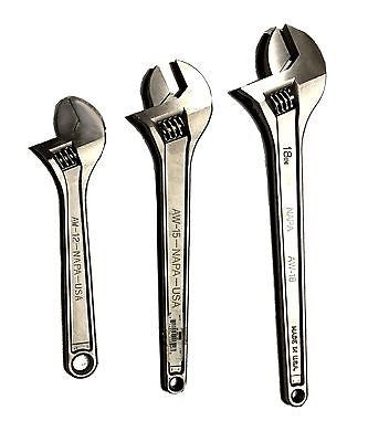 "Napa Adjustable Wrench Set 12"", 15"" And 18"""