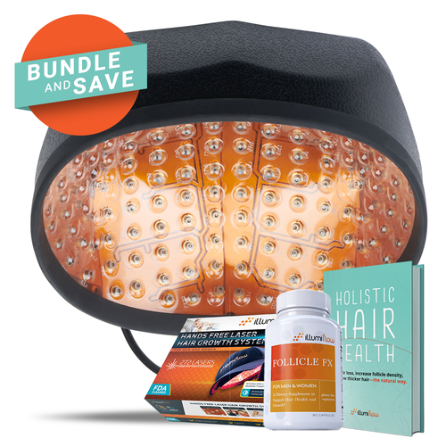 illumiflow 272 Laser Cap Bundle - Laser Cap + DHT Blocking Vitamins + Hair Growth Guide - laser-helmets