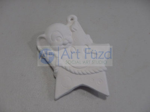 Mouse with Happy Star Holiday Ornament ~ 2.5 x 0.5 x 3.5