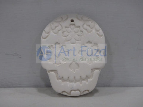 Flat Sugar Skull Holiday Ornament with Flower Design ~ 3 x 4