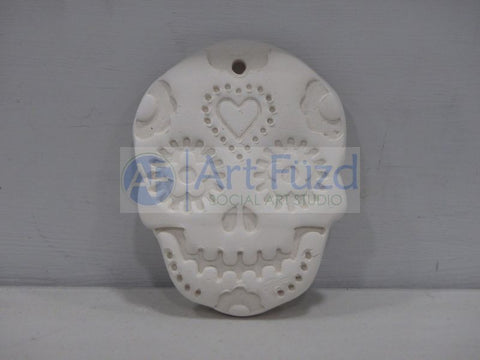 Flat Sugar Skull Holiday Ornament with Heart Design ~ 3 x 4