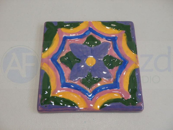 Catalina Coaster or Decorative Tile in Scalloped Flower Design ~ 3.5 x 3.5 x 0.25