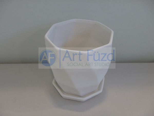 Geometric Waves Flower Pot with Drip Plate ~ 5.5 in. dia. x 5.75 in. high