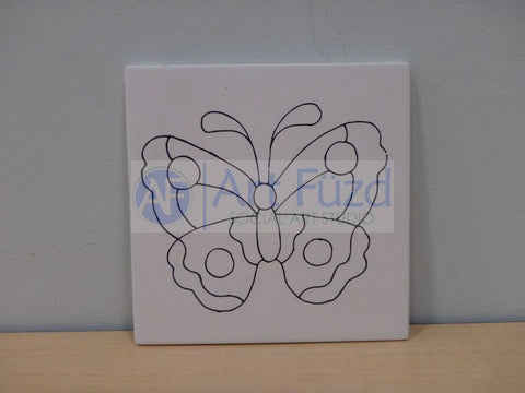 Butterfly Party Tile ~ 6 in. square x 0.25 in. thick