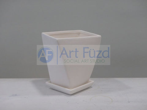 Hurricane Planter with Square Drip Plate ~ 5 x 5 x 6.25
