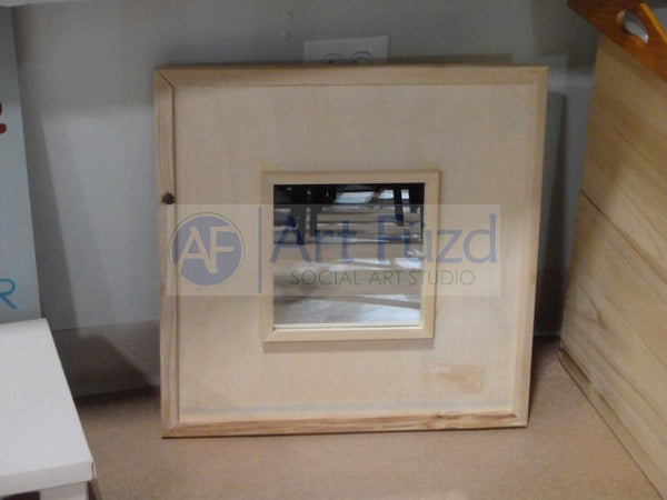 Wooden Square Tile Mirror Frame, includes (12) 4.25 inch tiles ~ 19.25 x 19.25