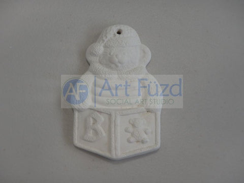 Flat Holiday Ornament - Baby Block with Teddy Bear