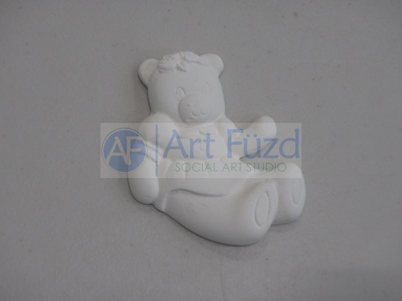 Large Flat Bisquie - Girl Teddy Bear Sitting