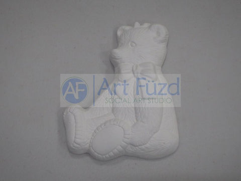 Large Flat Bisquie - Sitting Teddy Bear with Bow