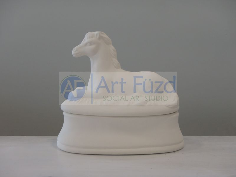 Oval Box with Lying Horse ~ 5.5 x 3 x 4.75