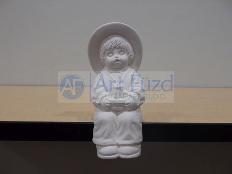 Shelf Sitting Boy in Hat Holding Candle in Lap Figurine ~ 3.5 x 3 x 8