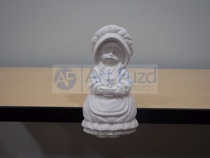 Shelf Sitting Girl in Bonnet Holding Candle in Lap Figurine ~ 4 x 3 x 7.5
