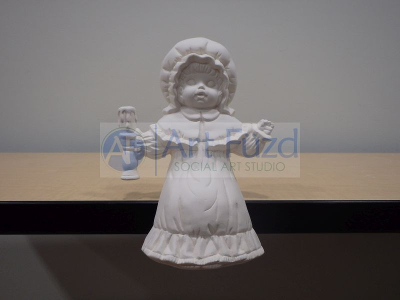 Shelf Sitting Girl in Dress and Bonnet Holding Candle Up in Right Hand Figurine ~ 5 x 3.5 x 8