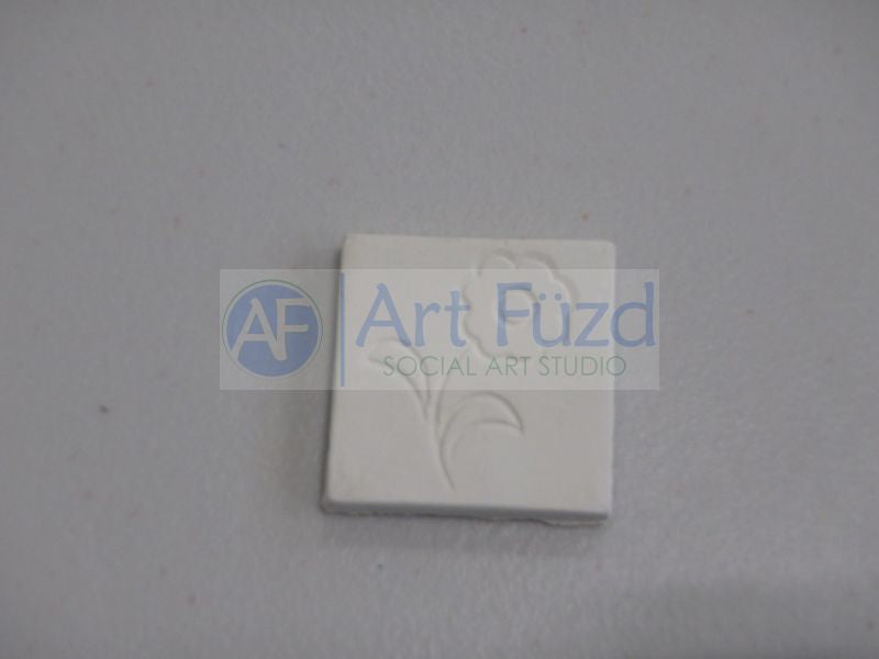Small Flat Square Tile Hand Pressed Bisquie - Flower Design ~ 1.25 x 1.25
