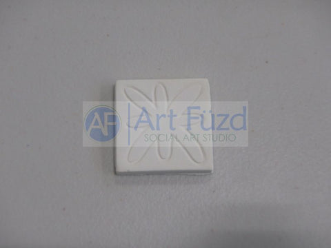 Small Flat Square Tile Hand Pressed Bisquie - Modern Design ~ 1.25 x 1.25